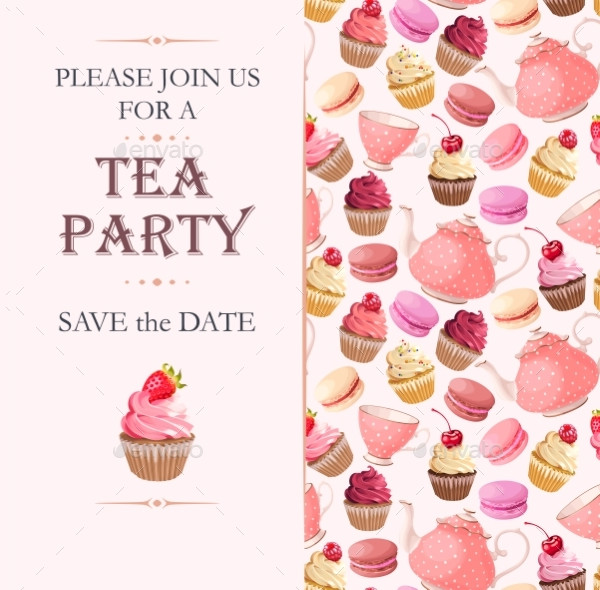 Vector Invitation to Tea Party with Sweets