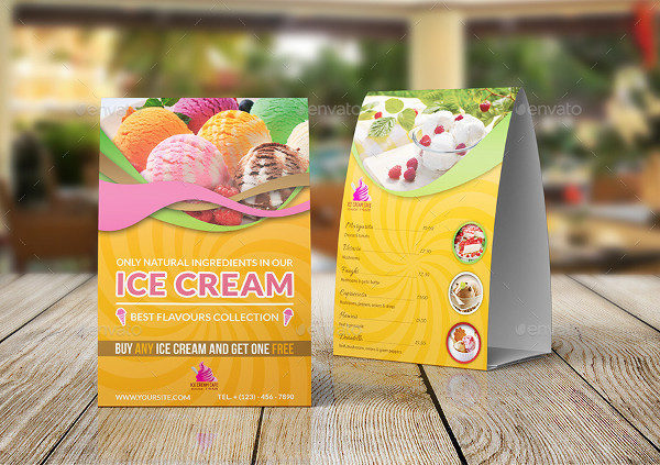 Ice Cream Table Tent Menu Template
