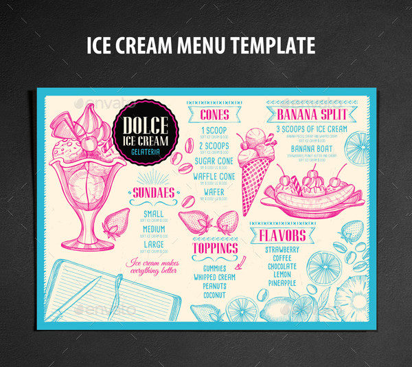 Ice Cream Menu Restaurant Template