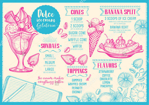 Vintage Ice Cream Menu Design Template