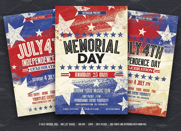 Vintage Style Memorial Day Flyers