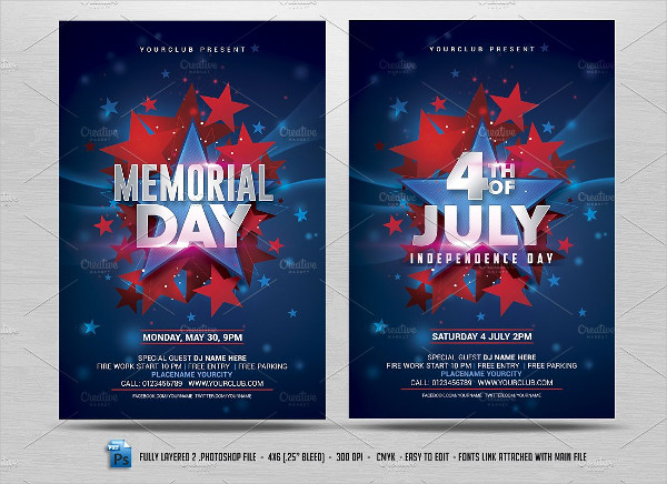 July 4th & Memorial Day Flyers