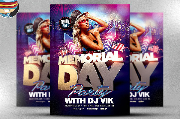 Popular Memorial Day Party Flyer Template