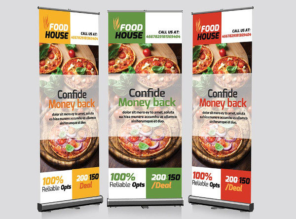 Printable Restaurant Roll Up Banners Template