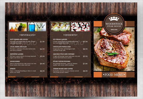 Rustic Menu Templates Free Premium Download - Folded menu template