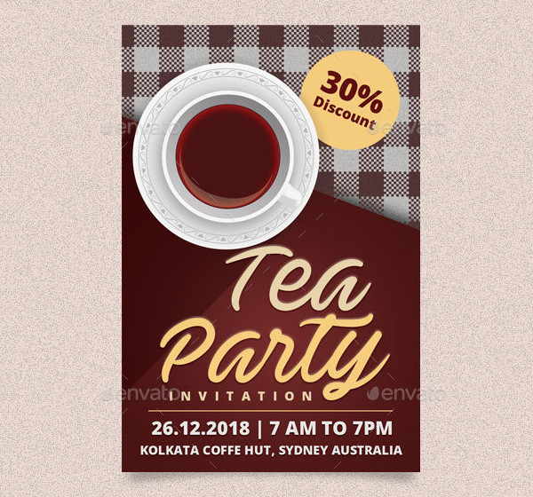 Tea Party Invitation Card and Post Card