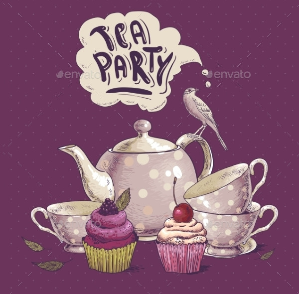Tea Party Invitations Card with a Cupcake
