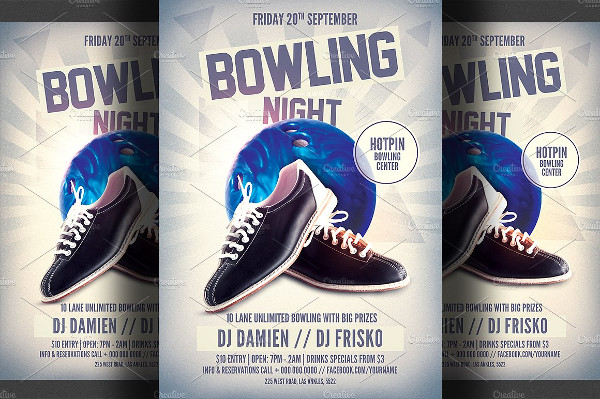 Unique Bowling Flyer Template