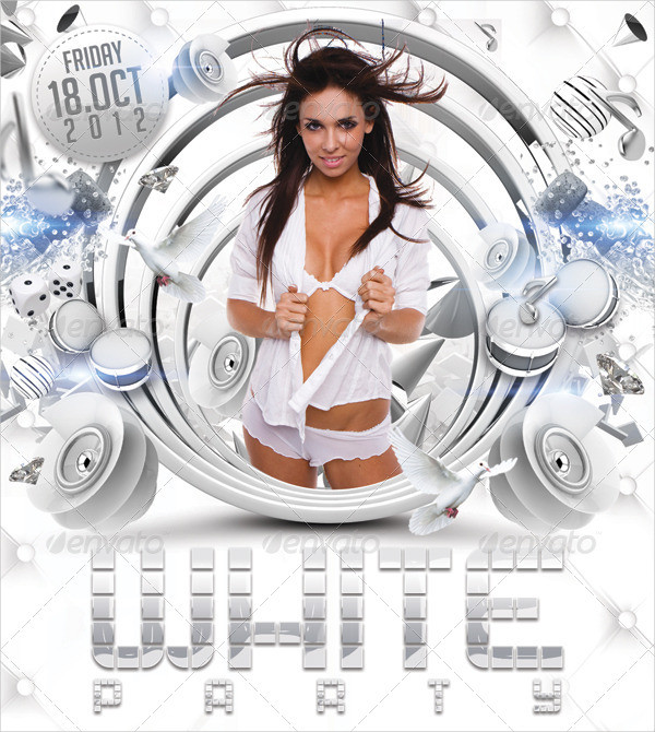 Magnificent White Party Flyer Template Illustration Resume Ideas
