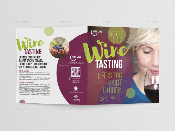 Wine Square Bi-Fold Brochure Template