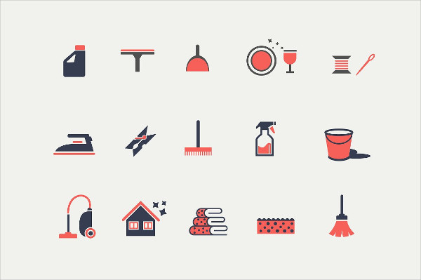 15 Cleaning & Housekeeping Icons