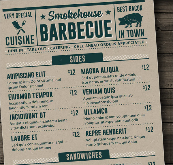 22 printable bbq menu templates free premium download. Black Bedroom Furniture Sets. Home Design Ideas