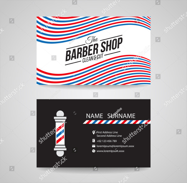 Red Blue & White Wave Business Card for Barber Shop