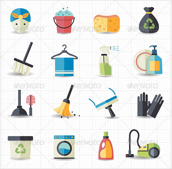Cleaning Vector Illustration Icons