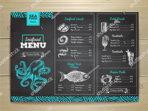 Vintage Chalk Drawing Seafood Menu Design