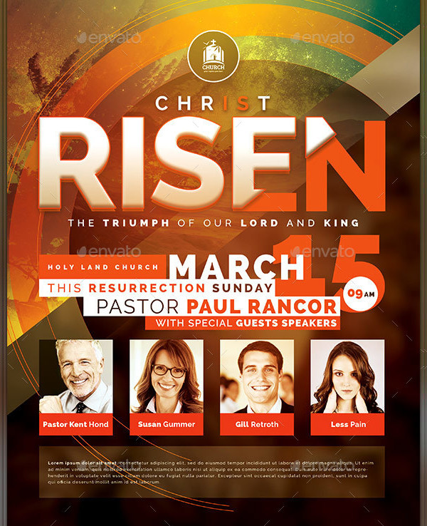 Christ Is Risen Church Flyer Template