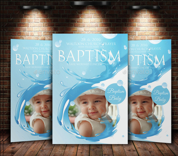Christian Baptism Sunday Church Flyer Invitation Templates
