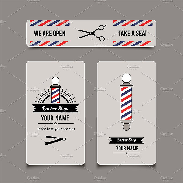 Classic Barber Shop Business Cards Set