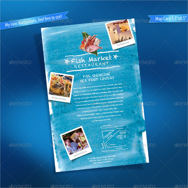 Seafood Restaurant Menu & Map Card