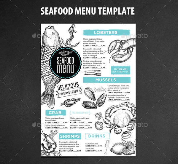 Easy to Edit Seafood Store Menu Template