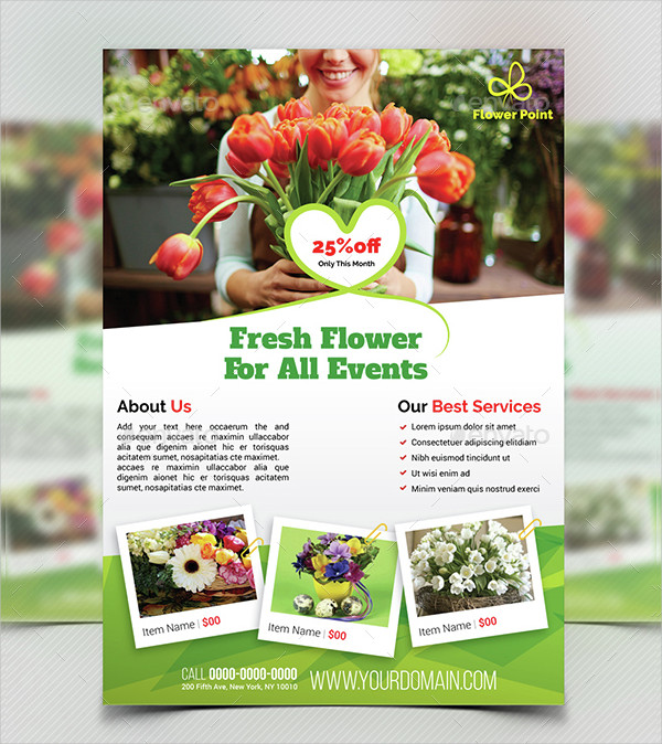 Fresh Flower Shop Flyer Template