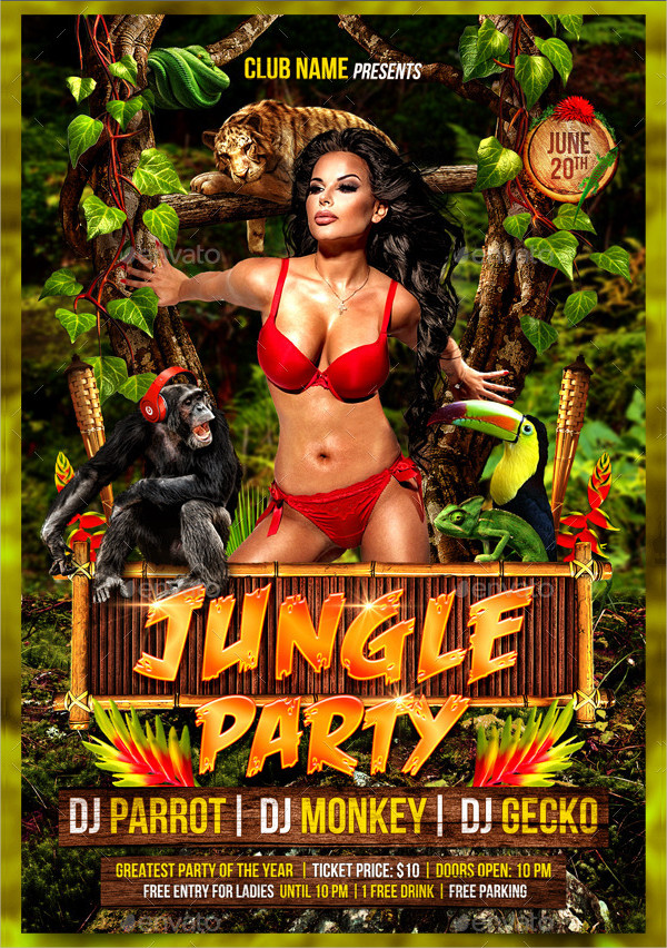 Exotic Jungle Party Event Flyer Template