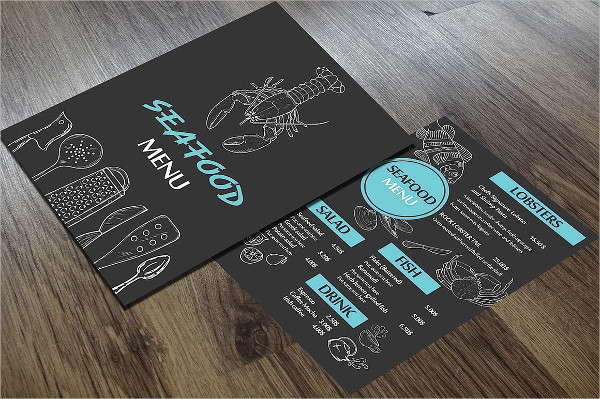 One Page Seafood Menu Template