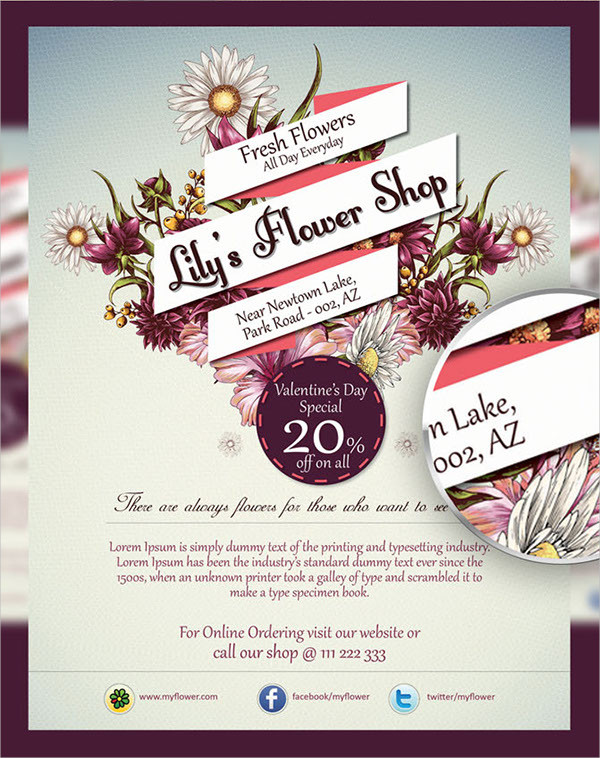 Flower Shop Sales Flyer Template