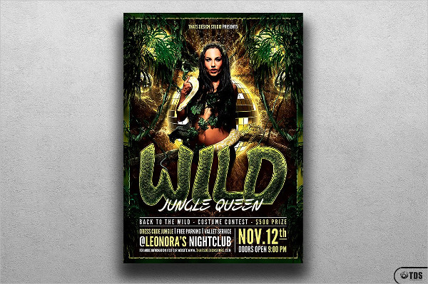 Print Ready Wild Party Flyer Template