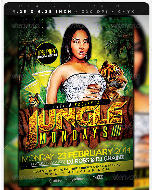 Super Jungle Days Party Flyer Template