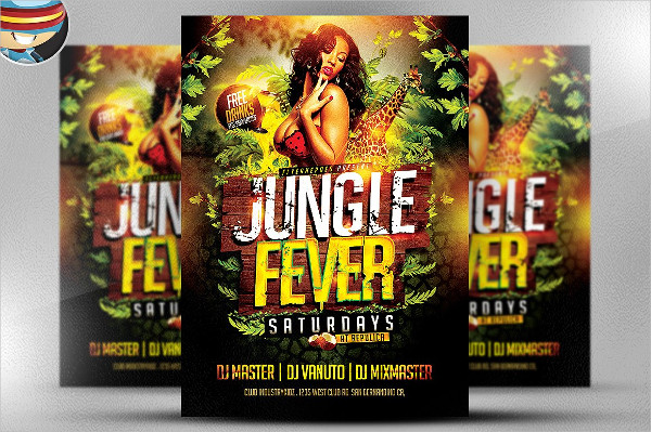 Unique Jungle Fever Party Flyer Template