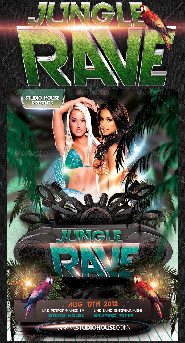 Amazing Jungle Rave Party Flyer Template