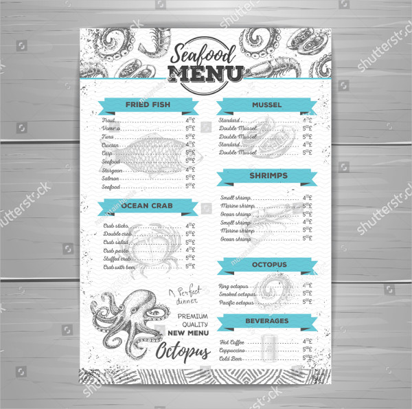 Vintage Design Seafood Menu Template