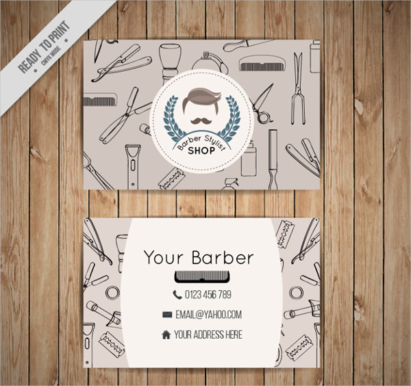 Barber Shop Business Card with Outlined Tools Free