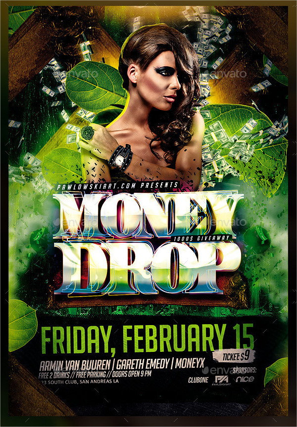 Money Drop In Jungle Party PSD Flyer Template