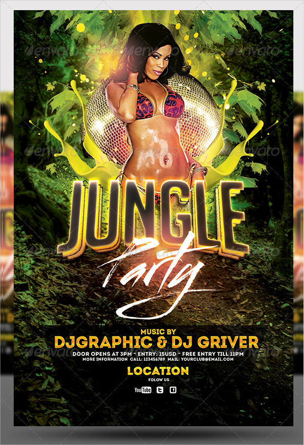 Stylish Jungle Party Club Flyer Template