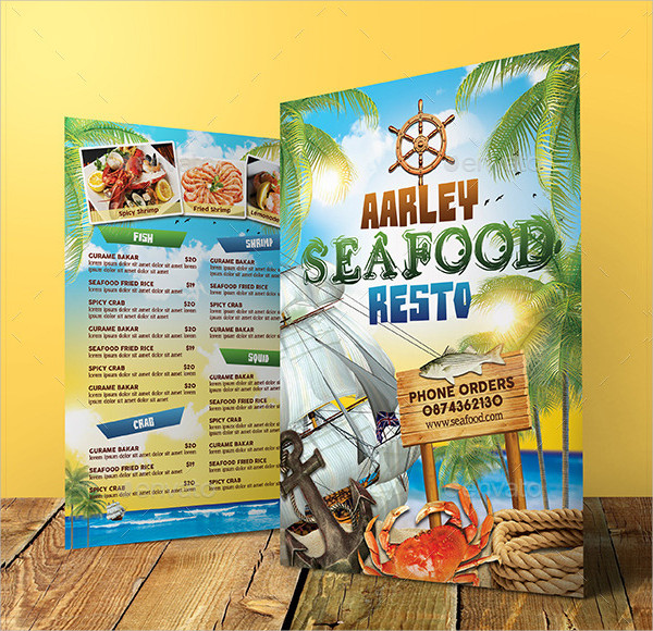 Attractive Seafood Cafe Menu Template