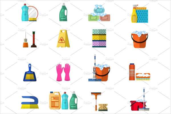 Flat Cleaning Products Icon Set