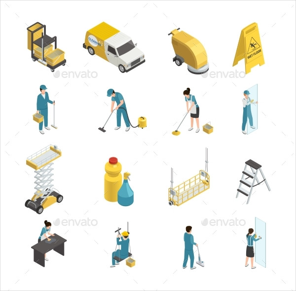 Professional Cleaning Isometric Icons