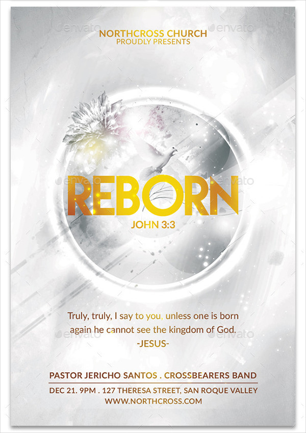 Reborn Church Baptism Flyer Template