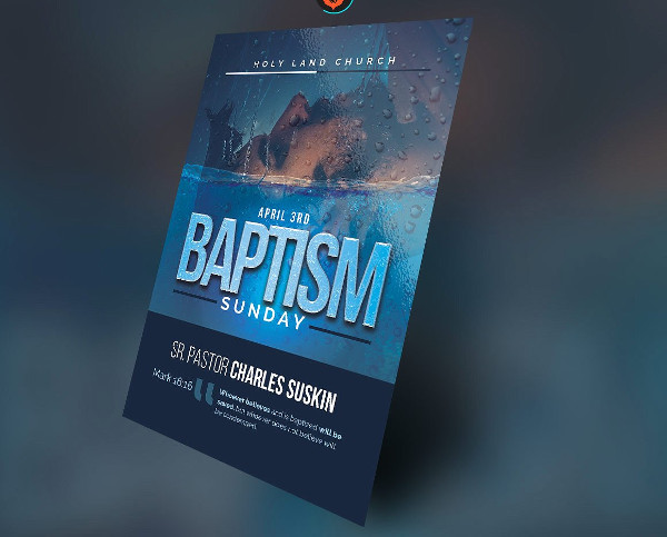 Unique Baptism Sunday Church Flyer Template