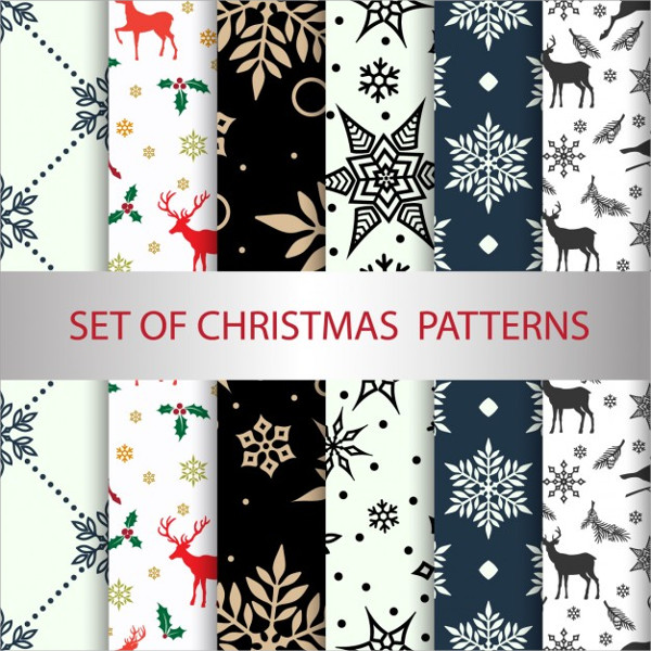6 Patterns for Christmas Free Vector