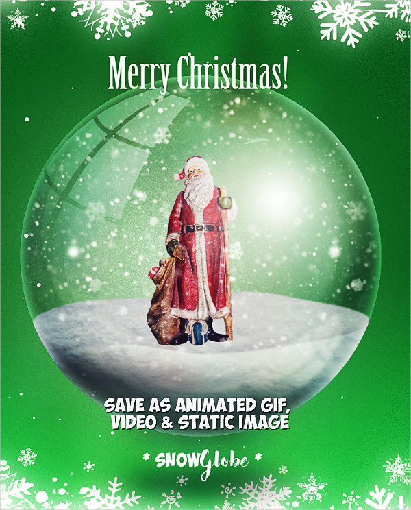 Animated Snow Globe Photoshop Action for Christmas