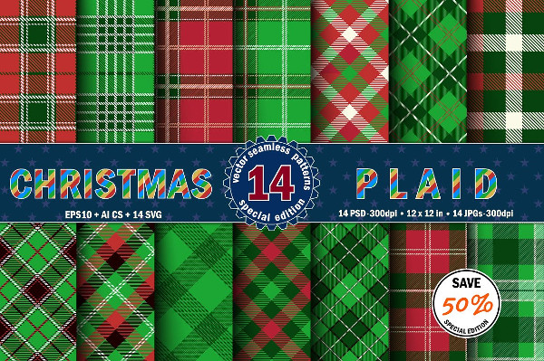 Christmas Seamless Plaid Patterns