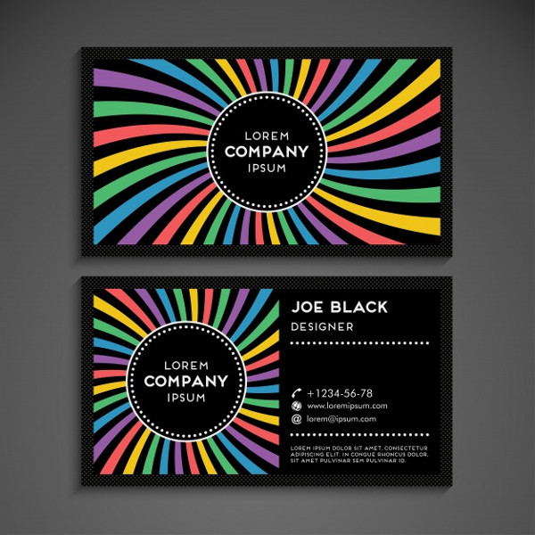 Modern Business Card in Rainbow Design Free