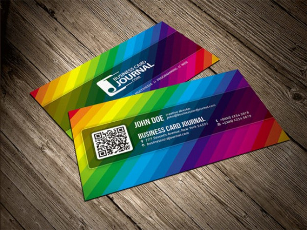 Rainbow Color Business Card Template Free