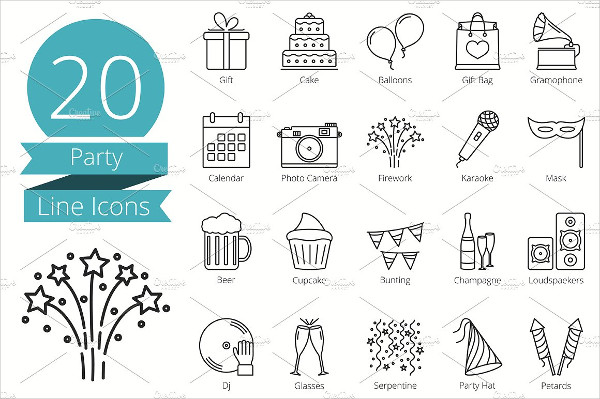 20 Dinner Party Line Icons