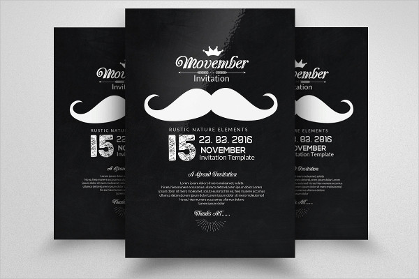 Chalk Board Movember Flyer Template