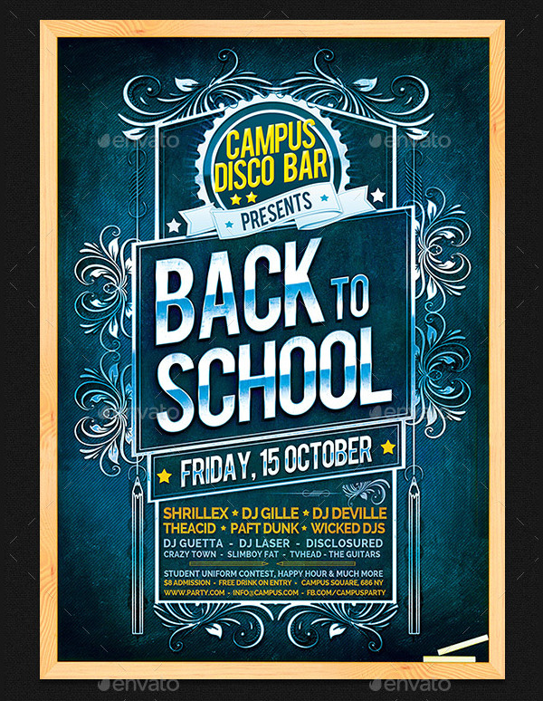 Chalkboard Back To School Party Flyer Template