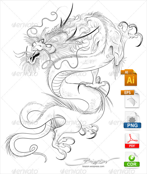 Chinese Dragon Tattoo Designs Vector